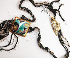 Glass Enamel on Sterling Silver Boho Necklace, Artisan Designed Bohemian Jewelry, Retro Pop Art Bolo Style Accessory, Hippie Accessories