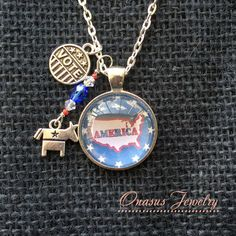 "Map of America USA Republican or Democrat 1"" Round Glass Cabochon Pendant with Silver Chain, Vote Charm & Elephant or Donkey Charm"