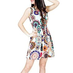 Lookatool 1pc Women Summer Sunflower Beach Mini Dress S -- Be sure to check out this awesome product. (Note:Amazon affiliate link) Nice Dresses, Dresses For Work, Thing 1, Sunflower Print, Dress Silhouette, Summer Dresses For Women, Fashion Branding, Fit And Flare, Clothes
