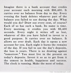 You must live in the present on today's deposits invest it so as to get from it the utmost in health happiness and success the clock is running make the most of today