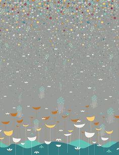 Preciosa tela gris con flores turquesa, esmeralda, mostaza, rojo antiguo y blanco. ¡Comprala online! Envío 48 - 72h.