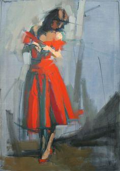 "Noli mi Tangere"" - Maggie Siner, oil on linen, 2016 {figurative art standing female red dress woman cropped painting} Dress Painting, Figure Painting, Figure Drawing, Painting & Drawing, Painting Abstract, Art Stand, Human Art, Cool Paintings, Acrylic Paintings"