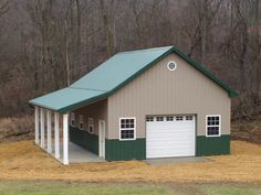 Small 39 simple garage barn don 39 t like the green though for 24 x 32 pole barn plans
