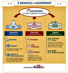 A nice infographic explaining the 3 branches of the American Governement. Click on pin to preview our children's American History DVDs.