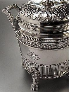 Faberge Silver Sugar Bowl in Louis XVI style