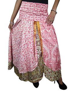 Women Fashion Magic Silk Sari Skirt Pink Floral Print Long Maxi Skirts Bandeau Bodice Dress Mogul Interior http://www.amazon.com/dp/B00O2WS4B4/ref=cm_sw_r_pi_dp_7O.kub0DFCM5F