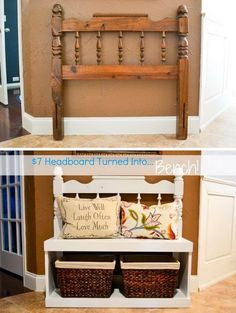 DIY Bench From Recycled Headboard.