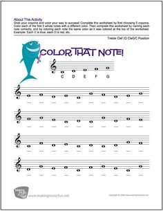 Color That Note - Free Note Name Worksheet - Treble Clef/C Position (Digital Print) - Visit MakingMusicFun.net for free and premium sheet music, music lesson plans, and composer biographies and worksheets. #violinforkids
