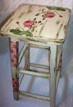 Floral Decoupaged Stool