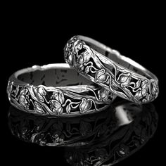 Art Nouveau Ring, Art Nouveau Design, Sterling Silver Wedding Rings, Antique Wedding Rings, Hair Jewelry, Jewelry Shop, Jewellery, Mom Ring, Water Lilies