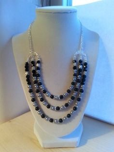 Matte black and smoke grey pearl statement necklace sterling silver/ Black and grey bib necklace/ Black and grey triple stranded necklace on Etsy, $17.00