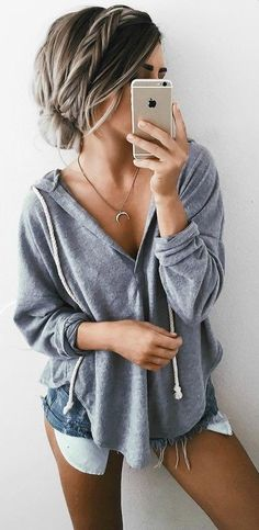 Grey Little Hoodie + Denim Shorts Source