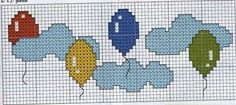 Balloons in the Clouds Cross Stitch For Kids, Simple Cross Stitch, Cross Stitch Baby, Cross Stitch Alphabet, Cross Stitch Charts, Cross Stitch Designs, Cross Stitch Patterns, Cross Stitching, Cross Stitch Embroidery