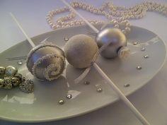 Elegant Silver & White Wedding Cake Pops
