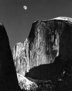 Moon and Half Dome, Yosemite, CA Photo by Ansel Adams, 1960