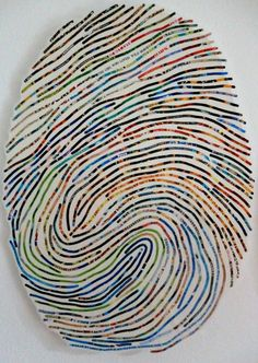 inspiration and realisation: fingerprint collages by Cheryl Sorg Instalation Art, Fingerprint Art, Thumb Prints, High School Art, Art Graphique, Art Journal Pages, Art Plastique, Teaching Art, Mosaic Art