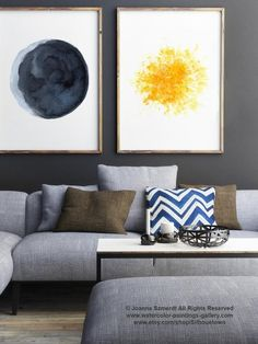 Moon ans Sun set of 2 Canvas Watercolor Paintings. Blue and Yellow Living Room Decor. Abstract Minimalist Space Wall Decoration. Full Moon and Gold Star Art Print. Crescent Half Moon Painting. Moon Phases Illustration. A price is for the set of 2 Art Prints as in the first Picture. In the first