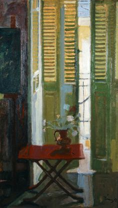 French Door, 1961 by Panayiotis Tetsis on Curiator, the world's biggest collaborative art collection. Modern Art, Contemporary Art, Greek Paintings, Original Paintings For Sale, Illustration Art, Illustrations, Interior Window Shutters, Window Art, Open Window