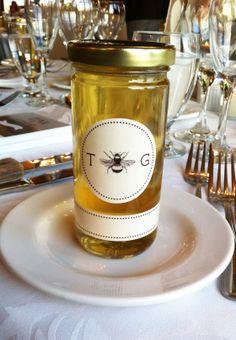 custom honey jar label with client's signature wedding logo