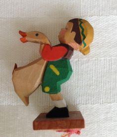 Vintage Carved Wood Erzgebirge Miniature Boy with GOOSE Germany German Wooden | eBay