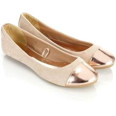 Accessorize Milly Metallic Toe Ballerinas (€22) ❤ liked on Polyvore featuring shoes, flats, sapatos, sapatilhas, zapatos, nude, ballet shoes, ballerina flat shoes, ballet flats and metallic flats