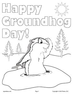 Happy groundhog-day-coloring-page-for-kids | Winter in preschool ...