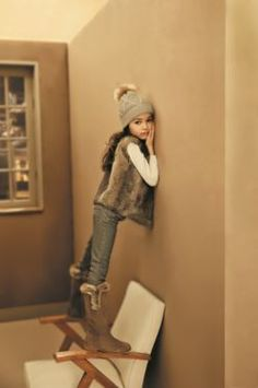 Rabbit fur vest and bobble beanie hat #FW15 #fall #winter # campaign #kidsfashion #fur #hat