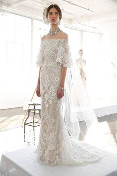 A model poses during the Marchesa Bridal Spring/Summer 2017 Presentation at Canoe Studios on April 13, 2016 in New York City.