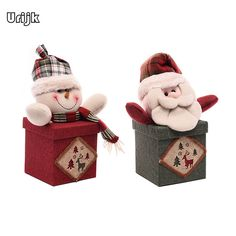 Urijk Santa Claus Snow Man Plush Doll Christmas Decorations for Home Candy Bottle Box Apple Child Gifts Holder Storage Container