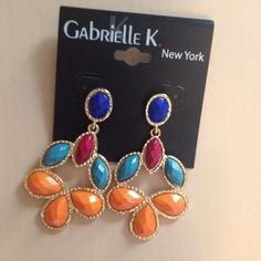 Cobalt, Rose, Turquoise, & Orange Drop Earrings Gold tone with posts. Gabrielle K NY Jewelry Earrings