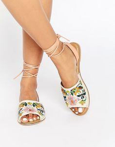 Image 1 ofASOS FRACTION Embroidered Flat Sandals