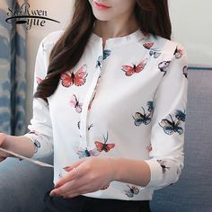 long sleeve women shirts plus size white blouse print women blouse shirt fashion womens blouses and tops office blouse 1042 40 Girls Fashion Clothes, Fashion Outfits, Emo Fashion, Camisa Formal, Shirt Blouses, Women's Shirts, Blouses For Women, Women Tunic, White Shirts Women