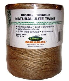 Librett Biodegradable Natural Jute Twine, 890 FT - 32oz - 3 Ply by Librett, http://www.amazon.com/dp/B005W3GKHW/ref=cm_sw_r_pi_dp_1sSdsb0Y031ME
