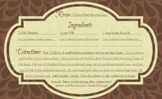 Downloadable Recipe Cards