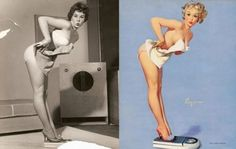 Pin-up girls in the 1950's, before and after: The Precursor to Photoshop?