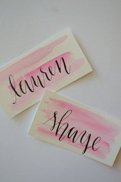 Hand Lettered Place Cards - great for weddings or parties. Watercolor, hand lettered with calligraphy dip pen. Standard ink colors of black or white