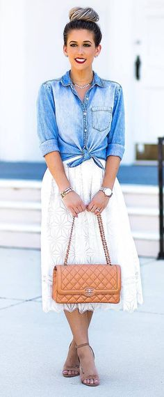 retro style obsession: shirt + skirt + heels