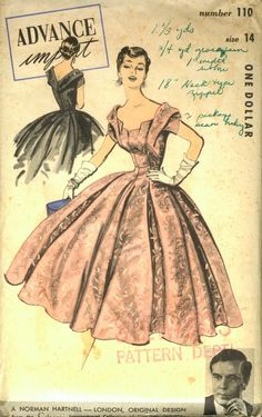 Advance Import 110, Norman Hartnell - London, Original Design from the Celanese International Collection of Couturier Fashions; Sz 14/Bust 32 AND Sz 10/Bust 28