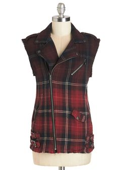 Made to Moto Vest. Your drive around town on your moped is perfectly heightened by this fun plaid vest. #red #modcloth