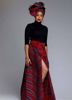 African Print Maxi Skirt with Sash (Red/Grey Stripes)- Clearance Cyrah African Print Maxi Skirt with Sash Red Grey Stripes – D'IYANU African Fashion Skirts, African Print Fashion, Skirt Fashion, Style Fashion, Fashion Trends, African Print Skirt, African Print Dresses, African Prints, Modern African Clothing