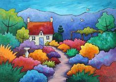 Gillian Mowbray Art by Dalaiwmn Art Fantaisiste, Cottage Art, Garden Cottage, Cottage Image, Landscape Quilts, Art Et Illustration, Naive Art, Art Abstrait, Whimsical Art