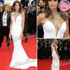 Festival du film de cannes robe de tapis rouge sexy v- cou, sirène, longueur au sol célébrité 2013 robes de soirée en mousseline de soie