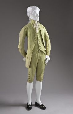 Gentleman's three-piece silk suit (frock coat, waistcoat and breeches), Venice, c.1770   LACMA Collections