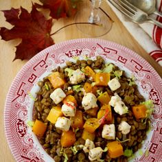 Lentils with Roasted Pumpkin & Chilli Marinated Feta recipe Pumpkin Chilli, Roast Pumpkin, Crab Stuffed Portobello Mushrooms, Leftover Roast Lamb, Pheasant Recipes, African Dessert, Oxtail Stew, Winter Dishes, Cheese Ingredients