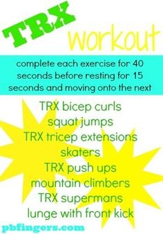 interval/circuit workout - for TRX but can easily do w/o and w/ weights