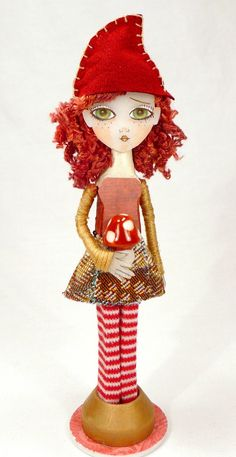 ReD-HAiReD GNoMe CLoTHeSPiN DoLL