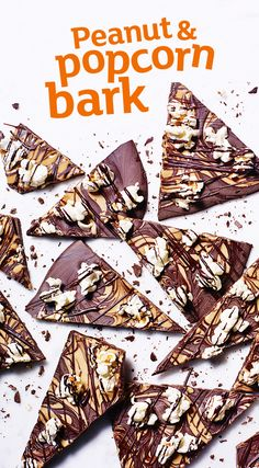 Swirl melted peanut butter through dark chocolate for a quick and easy gift. We love this chocolate bark recipe scattered with salty sweet popcorn too