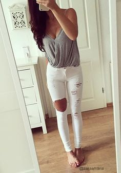 Heather grey && pure white just enough distress 🙋🏼‍♀️ Fashion Clothes, Style Fashion, Diy Clothes, Fashion Women, High Fashion, Teen Fashion, Fashion Trends, Fashion Outfits, Summer Clothes