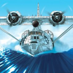Boobs and Warbirds: the Art of Romain Hugault Amphibious Aircraft, Navy Aircraft, Ww2 Aircraft, Fighter Aircraft, Military Aircraft, Float Plane, Airplane Art, Flying Boat, Ww2 Planes