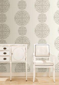 A cultured modern medallion wallpaper feature wall decor idea